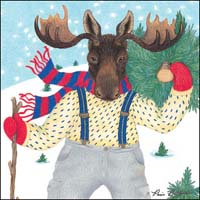Moose in Snow Shoes Gift Card - New!