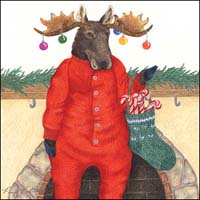 Moose with Ornaments on Antlers Gift Card - New!