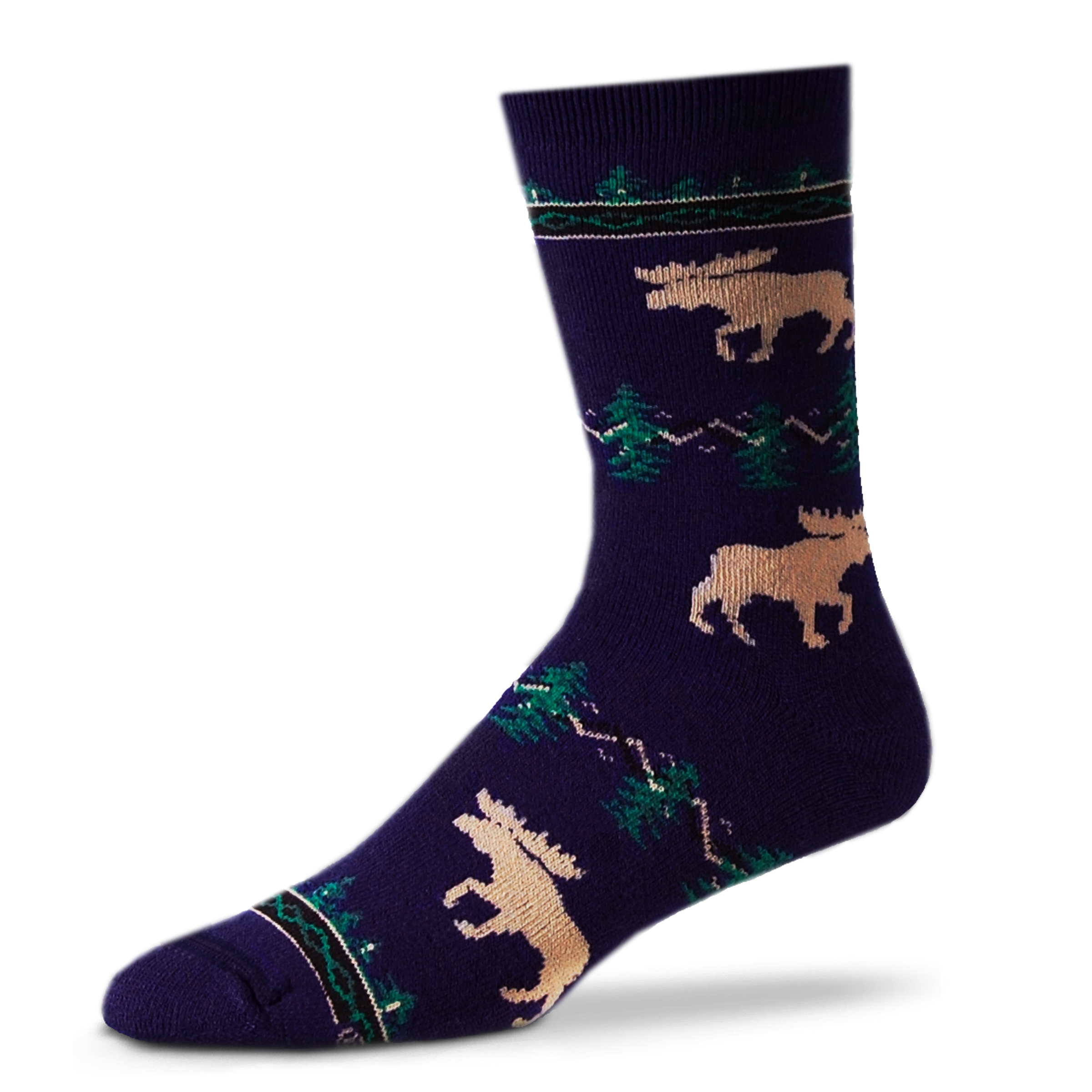 Blue Moose Socks with Silhouette - Large