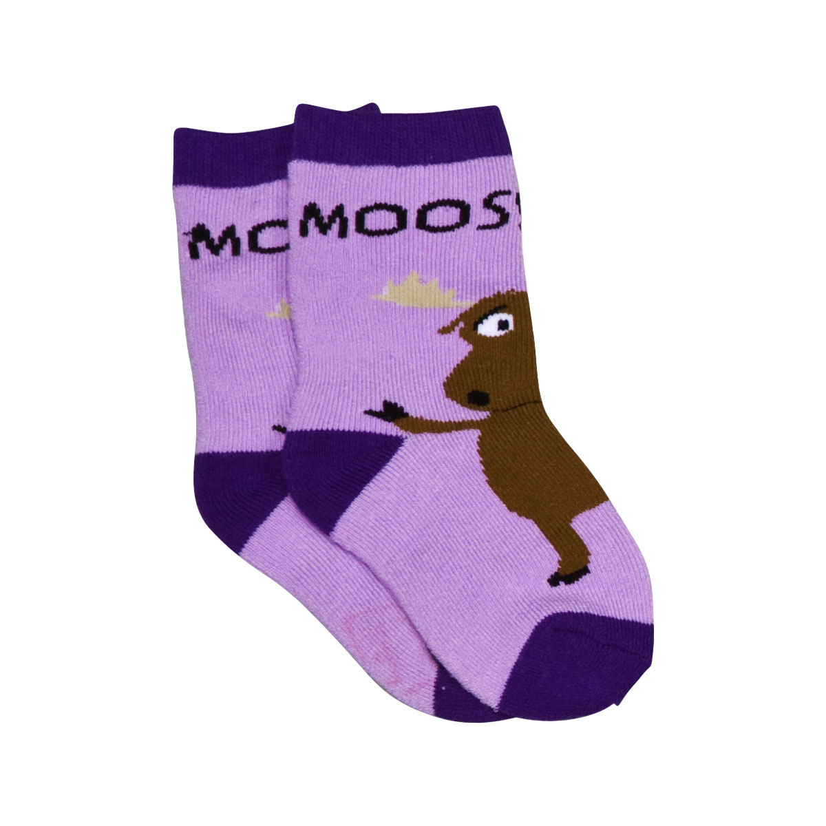 Moose Hug Purple Infant Socks 12-24
