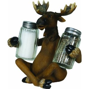Moose Holding Salt and Pepper Shakers
