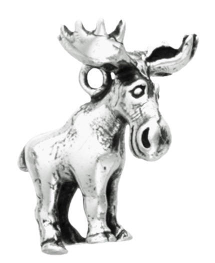 Sterling Silver Moose Charm - Cartoon Moose