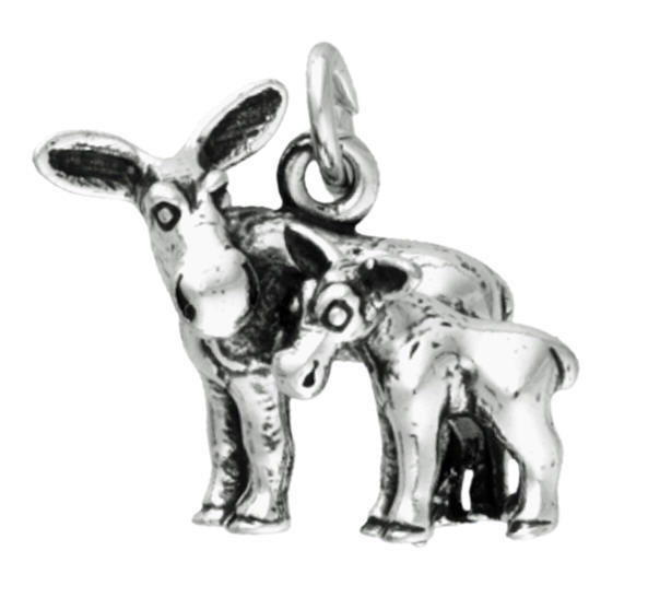 Sterling Silver Moose Charm - Mother and Baby