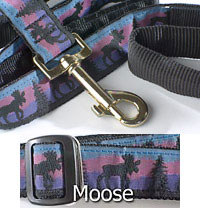 "1"" wide 5th Avenue Dog Lead with Moose Pattern"