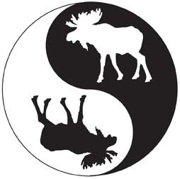 Yin Yang Moose Bumper Sticker