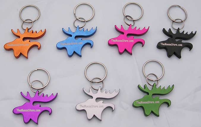 Moose Head Key Chain Bottle Opener - Black